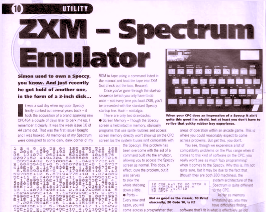 A screenshot of the Amstrad Action Issue 96 review of ZXM.